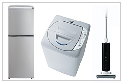 冷蔵庫『SR-141R』、洗濯機『ASW-EG42B』、掃除機『SC-JX1』